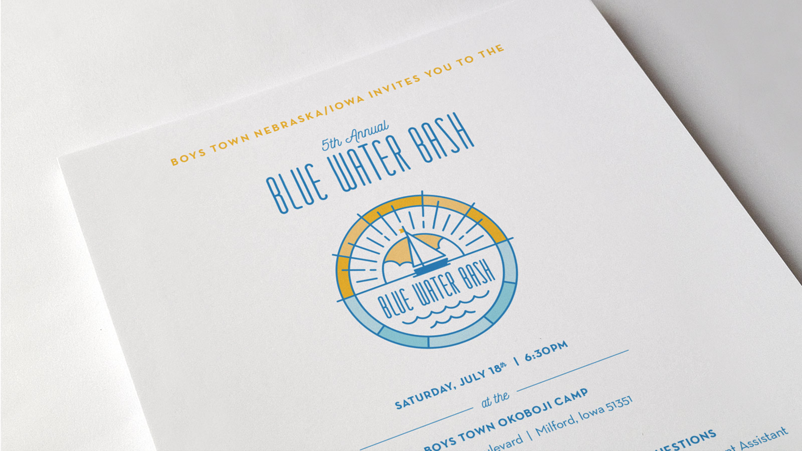 Boys Town Blue Water Bash Invitation