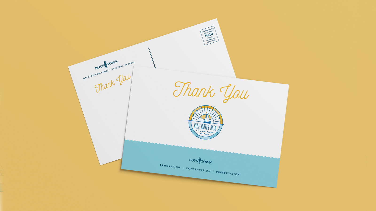 Boys Town Blue Water Bash thank you postcard