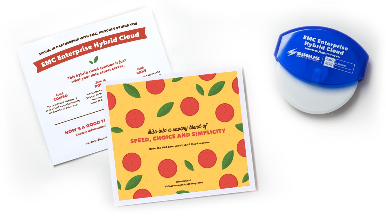 Sirius pizza direct mailer